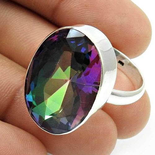 Mystic Topaz Gemstone Ring 925 Sterling Silver Indian Handmade Jewelry Q4