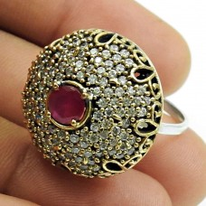 Turkish Ring Ruby CZ Gemstone 925 Sterling Silver Vintage Jewelry S28