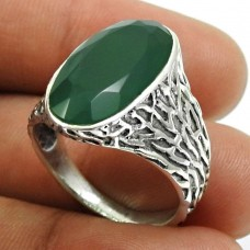 Green Onyx Gemstone Ring 925 Sterling Silver Tribal Jewelry X28