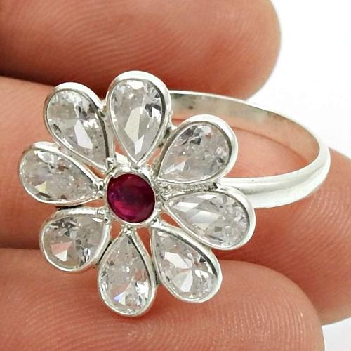 White CZ Ruby CZ Gemstone Flower Ring 925 Sterling Silver Ethnic Jewelry E69