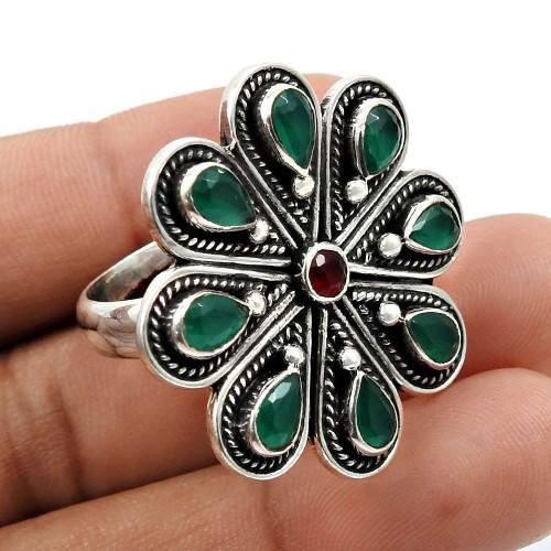 Ruby Emerald Gemstone Ring 925 Sterling Silver Vintage Look Jewelry P69