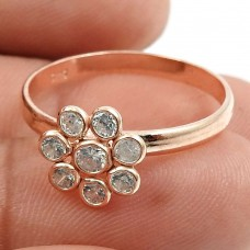 Rose Gold Plated 925 Sterling Silver White CZ Gemstone Ring Ethnic Jewelry T69