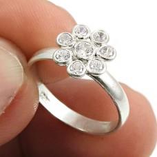 White CZ Gemstone Ring 925 Sterling Silver Handmade Indian Jewelry V69