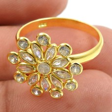 Gold Plated 925 Sterling Silver White CZ Gemstone Ring Indian Handmade Jewelry E70
