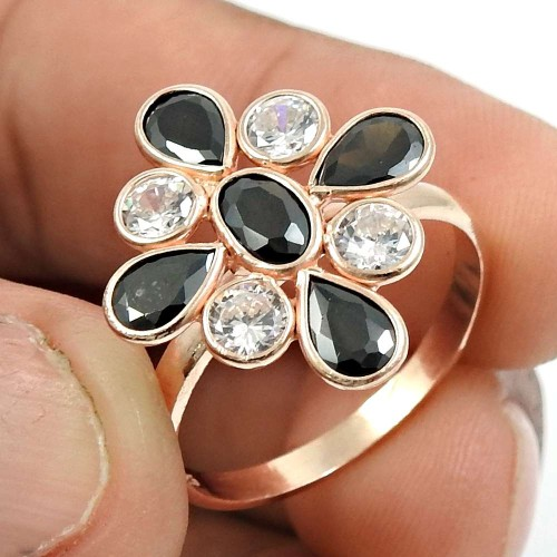 Rose Gold Plated 925 Sterling Silver Black CZ White CZ Gemstone Ring Indian Jewelry N70