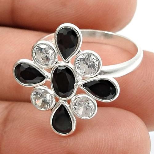 Black CZ White CZ Gemstone Ring 925 Sterling Silver Vintage Jewelry Q2