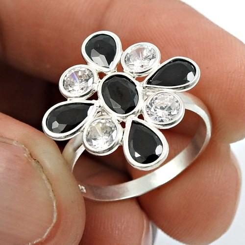 Black CZ White CZ Gemstone Ring 925 Sterling Silver Ethnic Jewelry S70
