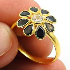Gold Plated 925 Sterling Silver Black CZ White CZ Gemstone Ring Stylish Jewelry U70
