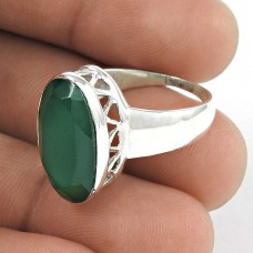 New Faceted!! 925 Silver Green Onyx Ring