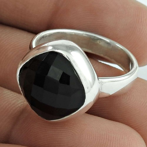 Excellent! 925 Sterling Silver Black Onyx Ring
