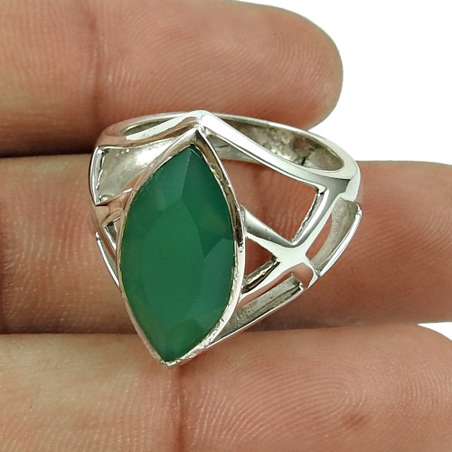 Sightly 925 Sterling Silver Green Onyx Gemstone Ring