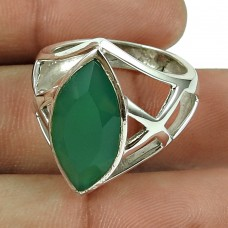 Perfect 925 Sterling Silver Green Onyx Gemstone Ring