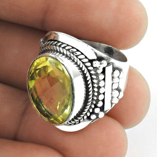925 Sterling Silver Indian Jewellery Fashion Lemon Topaz Gemstone Ring Manufacturer