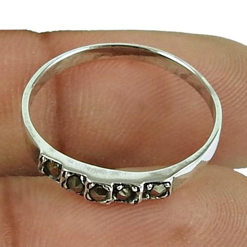 Rare 925 Sterling Silver Black CZ Gemstone Ring Fashion Jewellery