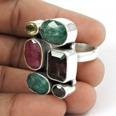 925 Sterling Silver Fashion Jewellery Rare Ruby, Emerald, Smoky Quartz, Citrine, Garnet Gemstone Ring