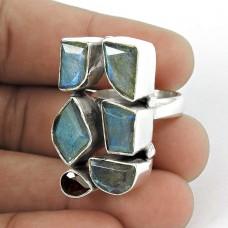 925 Sterling Silver Gemstone Jewellery Trendy Labradorite, Garnet Gemstone Ring