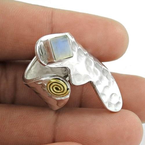 925 Sterling Silver Antique Jewellery Fashion Rainbow Moonstone Gemstone Ring