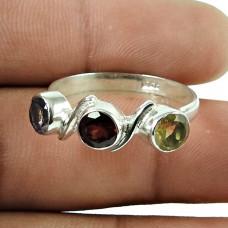 Daily Wear Garnet, Amethyst, Citrine Gemstone Ring 925 Sterling Silver Jewellery