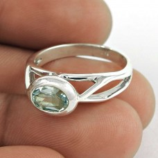 Charming Blue Topaz Gemstone Ring 925 Sterling Silver Vintage Jewellery Al por mayor