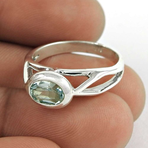 Charming Blue Topaz Gemstone Ring 925 Sterling Silver Vintage Jewellery Al por mayor