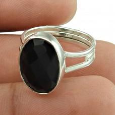 Charming Black Onyx Gemstone Ring 925 Sterling Silver Vintage Jewellery Exporter
