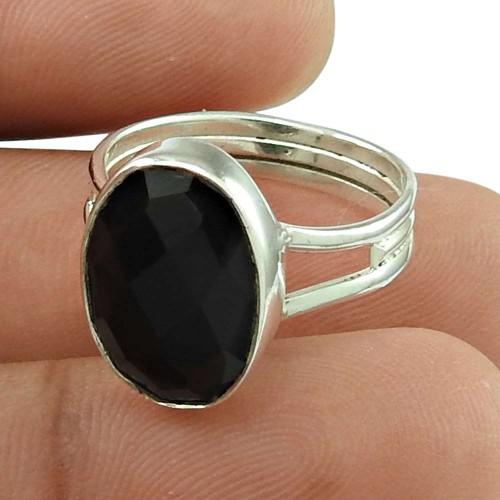 Charming Black Onyx Gemstone Ring 925 Sterling Silver Vintage Jewellery Exporter