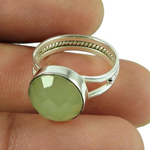 Fashion Prehnite Gemstone Ring 925 Sterling Silver Antique Jewellery