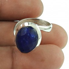 Lovely Lapis Gemstone Ring Indian Sterling Silver Jewellery