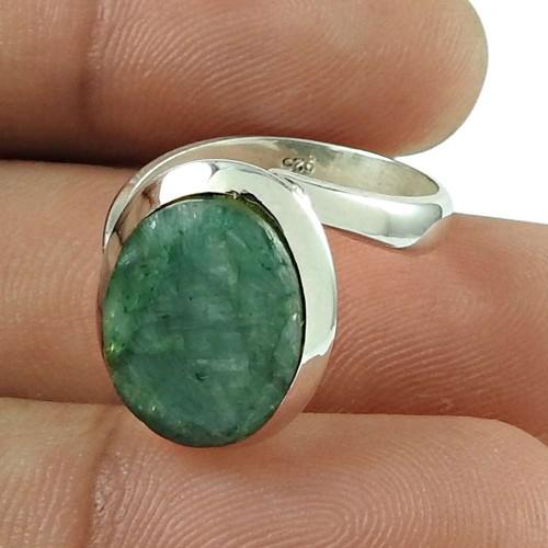 Scenic Emerald Gemstone Ring Sterling Silver Jewellery