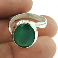 Rattling Green Onyx Gemstone Ring Sterling Silver Jewellery