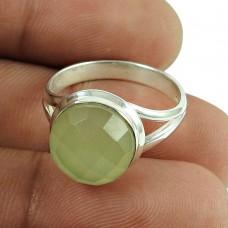 Amusable Prehnite Gemstone Ring 925 Sterling Silver Jewellery