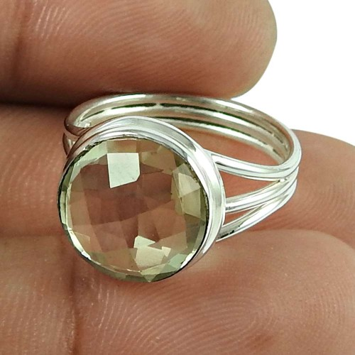 Rare Green Amethyst Gemstone Ring 925 Sterling Silver Fashion Jewellery