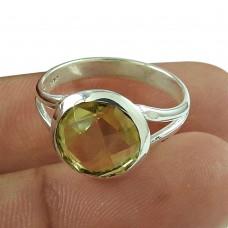 Trendy Lemon Topaz Gemstone Ring 925 Sterling Silver Gemstone Jewellery