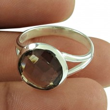 Charming Smoky Quartz Gemstone Ring 925 Sterling Silver Vintage Jewellery