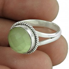 Fabulous 925 Silver Prehnite Ring Supplier India