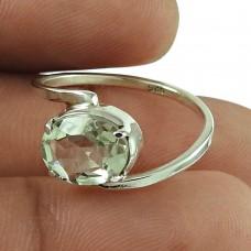 Scrumptious Green Amethyst Gemstone Ring 925 Sterling Silver Jewellery