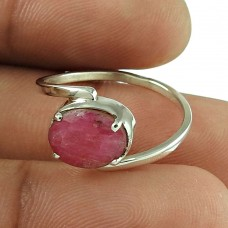 Good-Looking Ruby Gemstone Ring 925 Sterling Silver Antique Jewellery