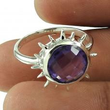 Sun Design Amethyst Gemstone Ring 925 Sterling Silver Vintage Jewellery