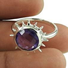 Party Wear Amethyst Gemstone Ring Sterling Silver Fashion Jewellery Fabricant