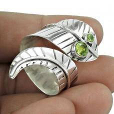 Two Tones Royal Dark 925 Silver Peridot Ring