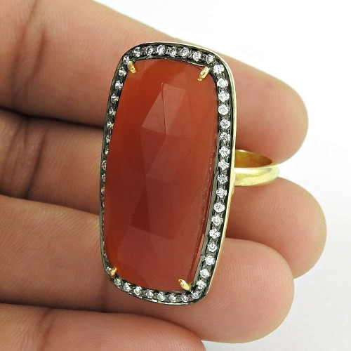 Fantastic Quality Of 925 Silver Carnelian,White CZ Ring Manufacturer
