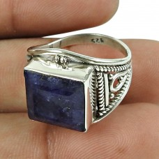 Good-Looking 925 Sterling Silver Blue Sapphire Gemstone Ring