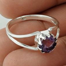 Lustrous Amethyst Gemstone Ring 925 Sterling Silver Fashion Jewellery Fabricante