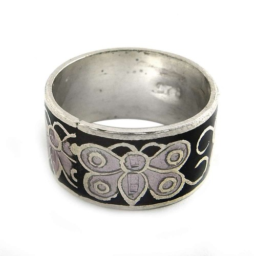 Very Light!! 925 Sterling Silver Enamel Ring