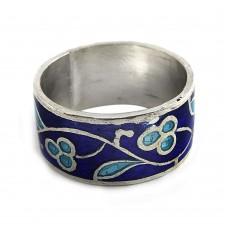 Excellent!! 925 Sterling Silver Enamel Ring Mayorista