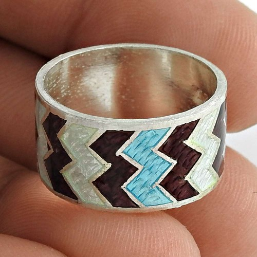 Maya Freedom!! 925 Sterling Silver Enamel Ring