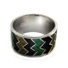 Big Natural Top!! 925 Sterling Silver Enamel Ring