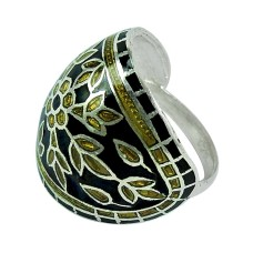 Large Stunning!! 925 Sterling Silver Enamel Ring
