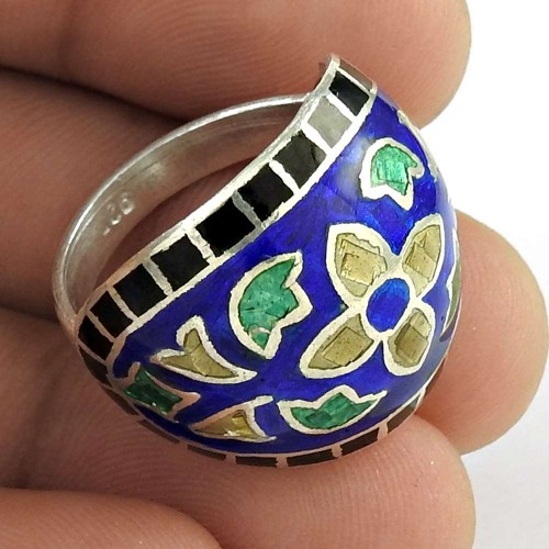 Classy Design!! 925 Sterling Silver Enamel Ring