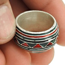 925 Sterling Silver HANDMADE Jewelry Inlay Band Ring Size 7 LO27